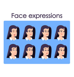 woman cartoon character faces set office worker vector image