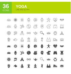 yoga line web glyph icons vector image