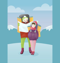 young couple with travel bag vector image