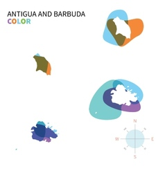 Abstract color map of Antigua and Barbuda vector image vector image