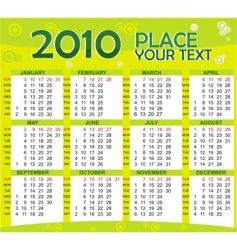 colorful calendar for year 2010 vector image