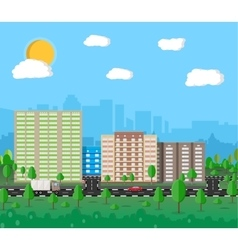 Modern summer City View Cityscape vector image