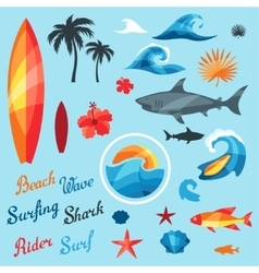 Set of surfing design elements and objects vector