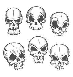 Artistic skeleton skulls sketches icons vector image