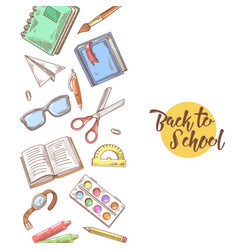 back to school hand drawn educational concept vector image