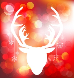 Christmas reindeer on red bokeh background vector image vector image