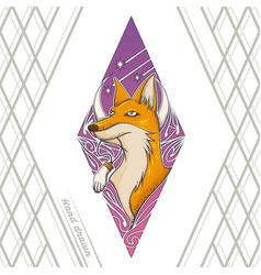 fox tattoo hand drawn vector image