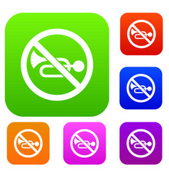 no horn traffic sign set collection vector image