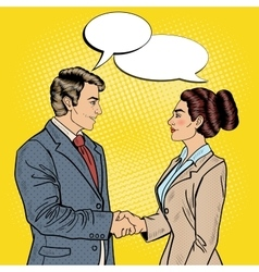 Pop Art Businessman and Business Woman Handshake vector image vector image