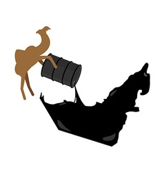 United Arab Emirates map Camel pours oil from vector image