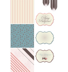 Vintage Rose Pattern frames and cute seamless vector image vector image