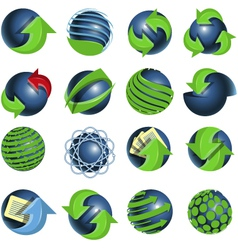 blue balls and green arrows vector image