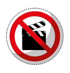 clapperboard with denied sign vector image vector image