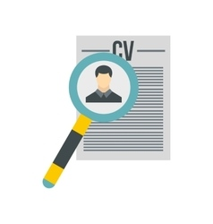 Magnifying glass over CV icon flat style vector image