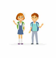 school children - characters of happy boy and girl vector image vector image
