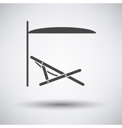 Sea beach recliner with umbrella icon vector image