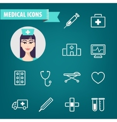 Set of linear medical icons ambulance vector