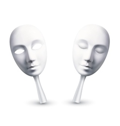 White carnival masks with open and closed eyes vector image