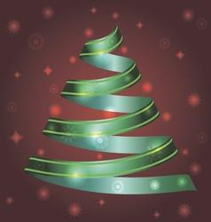 christmas ribbon tree vector image vector image