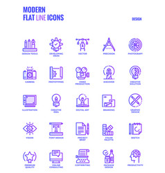 flat line gradient icons design-graphic design vector image