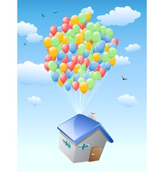 house with balloons flying in the blue sky vector image vector image