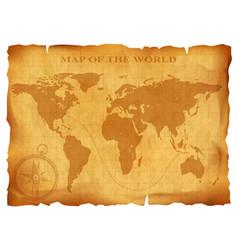 old vintage world map ancient manuscript grunge vector image