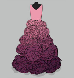 pink and purple dress with a hem made in the form vector image vector image