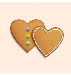 Symbol of Valentines day two Cookies hearts vector image vector image