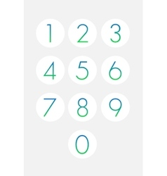 Thin numbers icons set Buttons isolated vector image