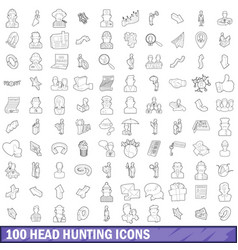 100 head hunting icons set outline style vector image