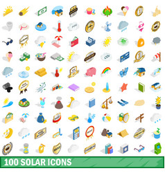 100 solar icons set isometric 3d style vector