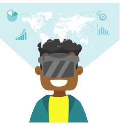 A black man in virtual reality headset vector