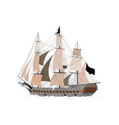A ship in the sea vector