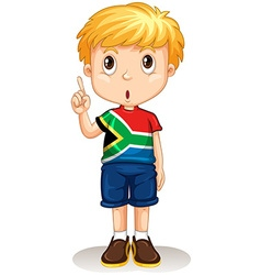 African boy pointing up vector image