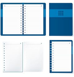 Agenda elements open and closed in blue tones vector