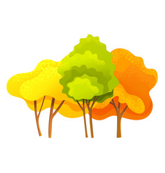Autumn tree different sizes and forms trees vector