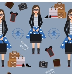 Beautiful girl hipster seamless pattern vector image