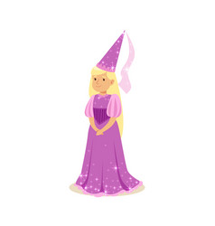 beautifull blonde little girl princess in a purple vector image