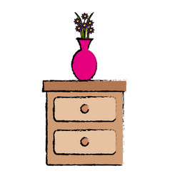bedroom drawer with flower vase vector image
