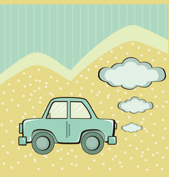 blue car background with clouds for text vector image