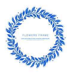 Blue watercolor frame with branch vector