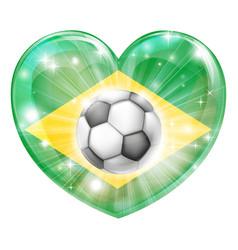 brazil soccer heart flag vector image
