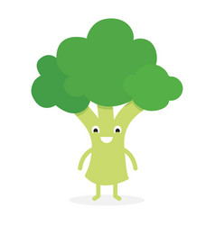 broccoli cute vegetable character vector image