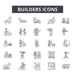 builders line icons for web and mobile design vector image