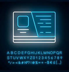 business card neon light icon glowing sign vector image