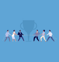 Business rope pulling tug war people vector