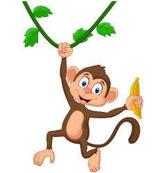 Cartoon monkey hanging vector