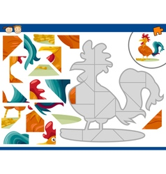 Cartoon rooster jigsaw puzzle task vector