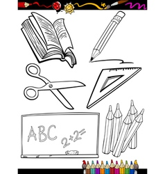 cartoon school objects coloring page vector image