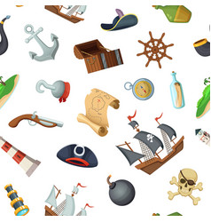cartoon sea pirates pattern or background vector image